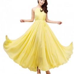 Yellow Color Bohemian Beach Maxi Chiffon Dress For Womens C-43Y