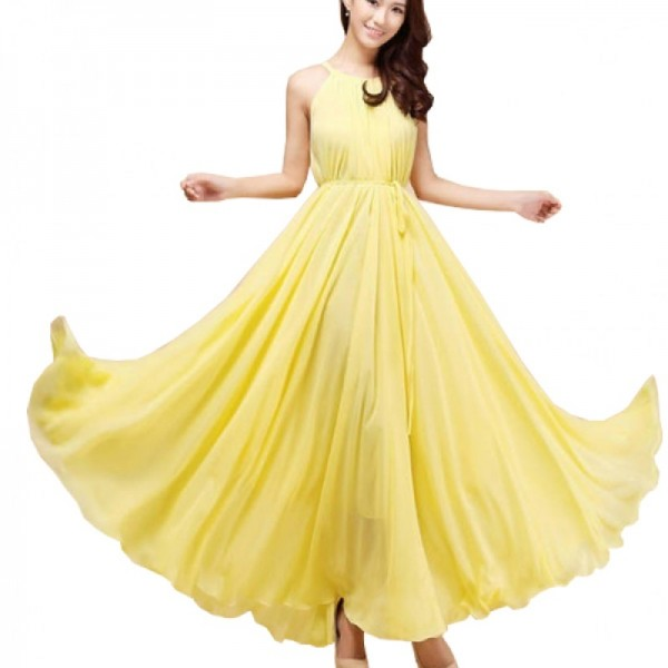 Yellow Color Bohemian Beach Maxi Chiffon Dress For Womens C-43Y image
