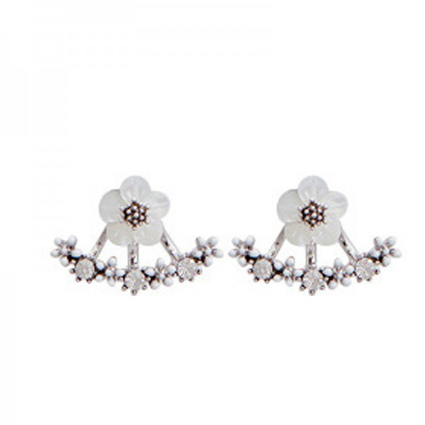Silver Color Alloy Flower Model Earrings For Women image