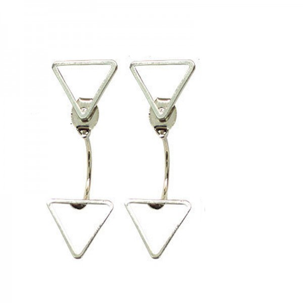 Silver Color Alloy Triangle Earrings For Women image