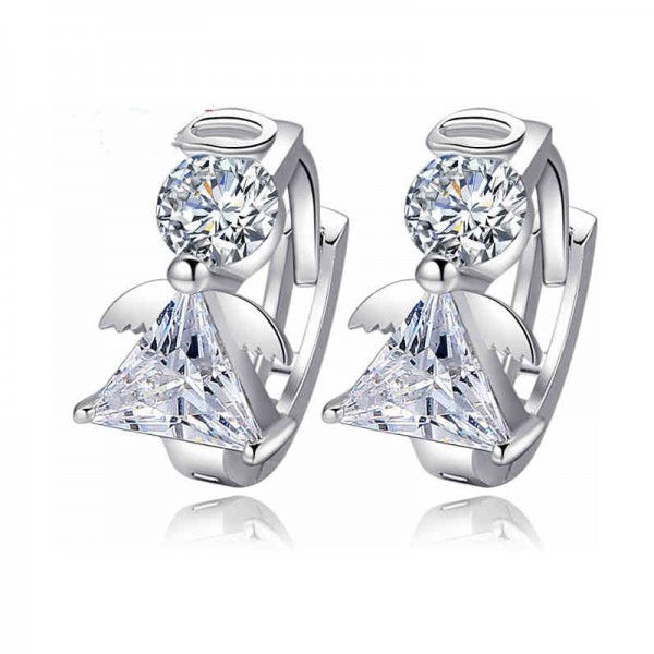 Silver Color Cartoon Characters Crystal Earrings For Women image