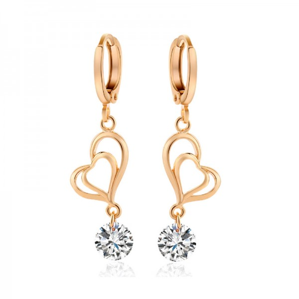 Silver Color Double Love Plated Exquisite Zircon Earrings For Women E-24S image