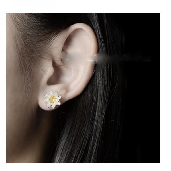 Silver Color Flower Model Korean Fashion Wind Creative Earrings For Women E-19 image