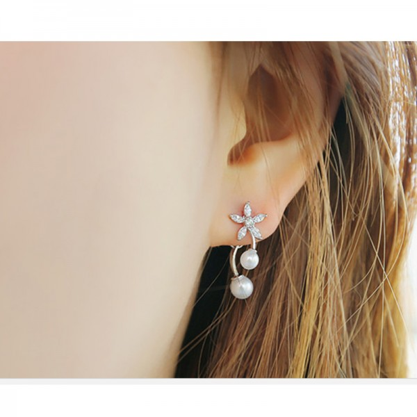 Silver Color Flowers Pearl Earrings For Women E-02S image