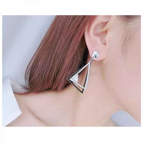 Silver Color Geometric Double Triangular Traided Zircon Earrings For Women image