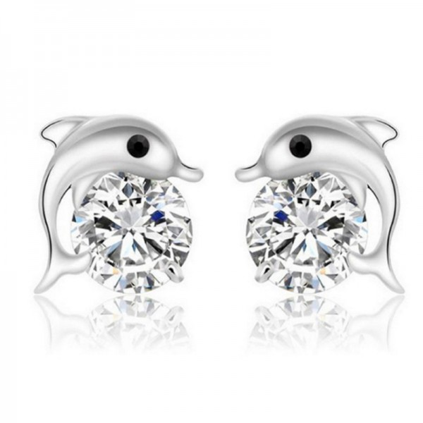 Silver Color Geometric Korean Fashion Zircon Dolphin Earrings For Women E-14 image