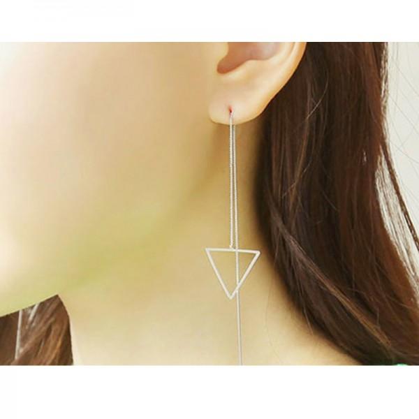 Silver Color Korean Fashion Long Earrings For Women E-03S image