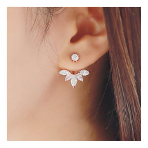 Silver Color Lady Elegant Crystal Rhinestone Ear Stud Earrings For Women E-08S image