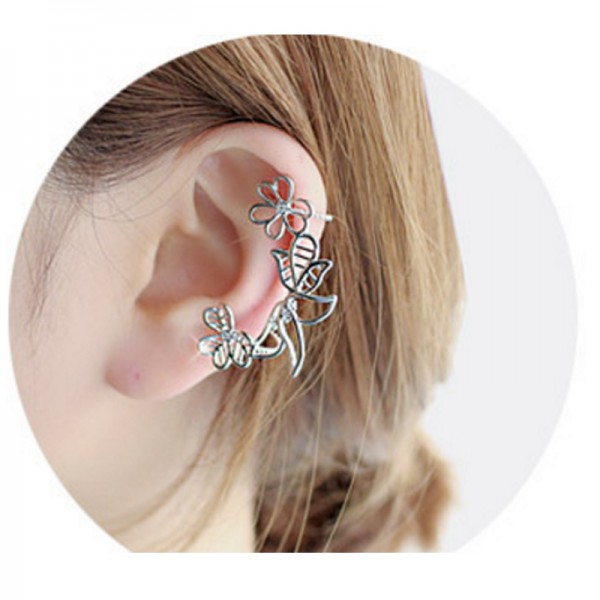 Silver Color Leaves Korean Fashion Alloy Pearl Clip Earrings For Women E-09S image