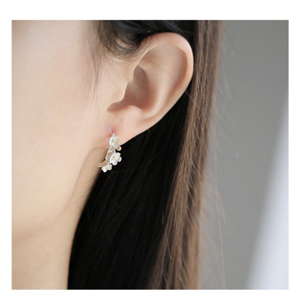 Silver Color Modelling Flower Handmade Earrings For Women image
