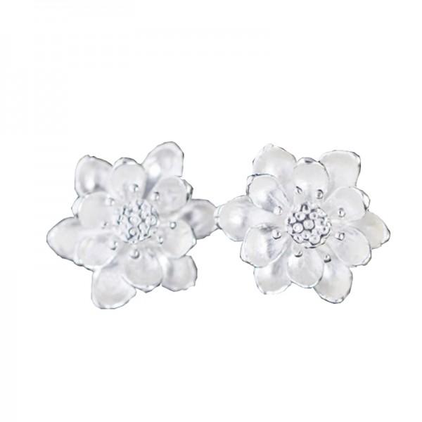 Silver Color Wind Flower Silver Pin Earrings For Women image