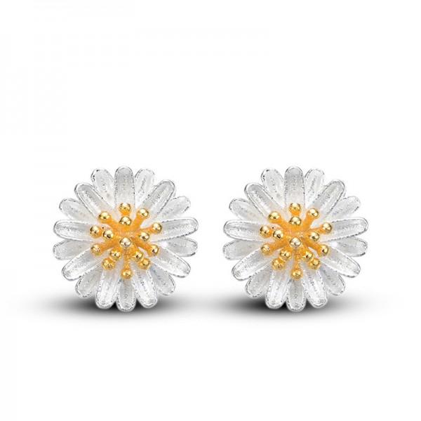 Silver Plated Sun Flower White Copper Earrings For Women E-17 image