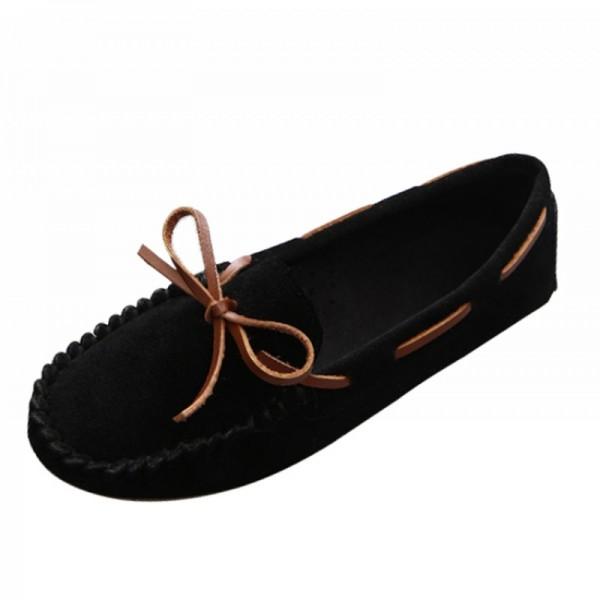 Black Color Suede Matte Comfortable Loafer Women Flats image