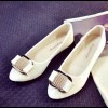 Cream Color Shining Pointed Flats For Women SH-12CR image