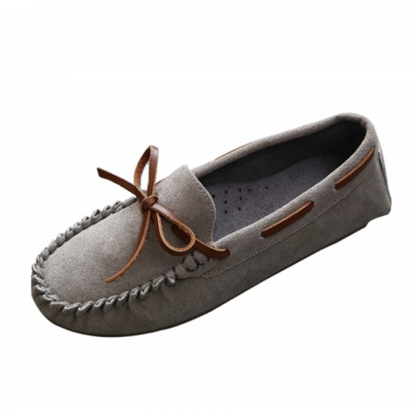 Grey Color Suede Matte Comfortable Loafer Women Flats SH-05GR image