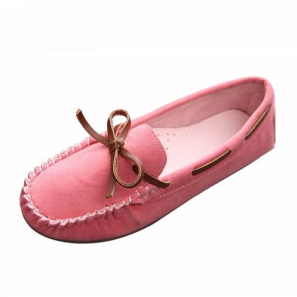 Pink Color Suede Matte Comfortable Loafer Women Flats SH-05PK image