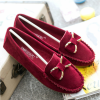 Red Color Butterfly Fashion Clip Suede Comfortable Flats For Women image