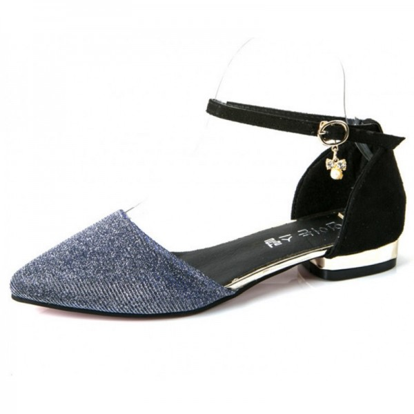 Sliver Color Velvet Summer Flats For Women SH-27S image