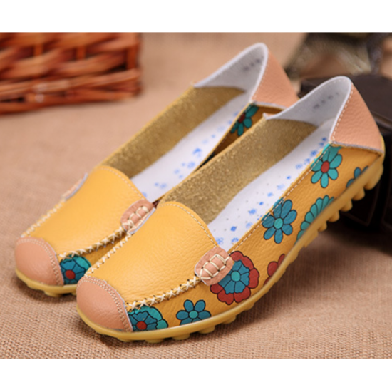 Comfortable Soft Mom Loafer Flats For Women-Yellow image