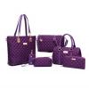 Purple Color Six Piece Mobile Messenger Women's Handbag Set HB-08PR image