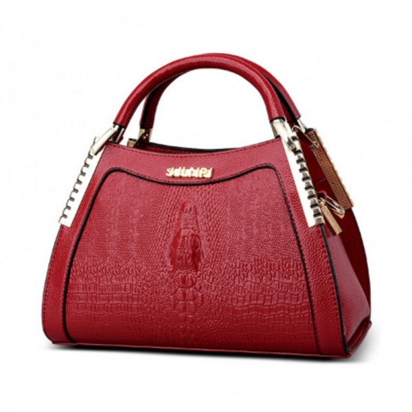 Red Color Crocodile Pattern Latest Design Women's Handbag image