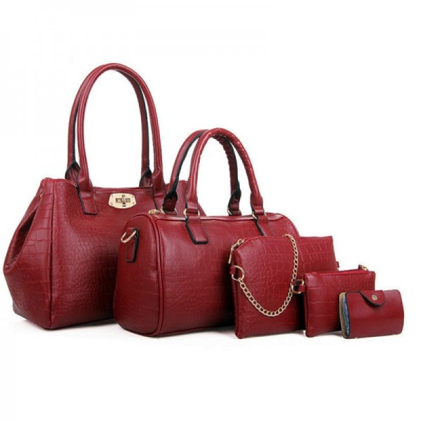 Red Color Five Piece Crocodile Pattern Women Fashion Handbag Set image
