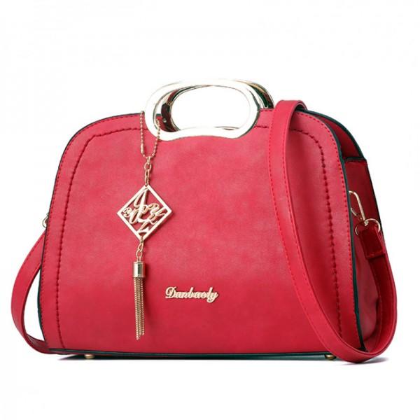 Red Color Trendy Leisure shoulder Messenger Ladies Handbag HB-18RD image
