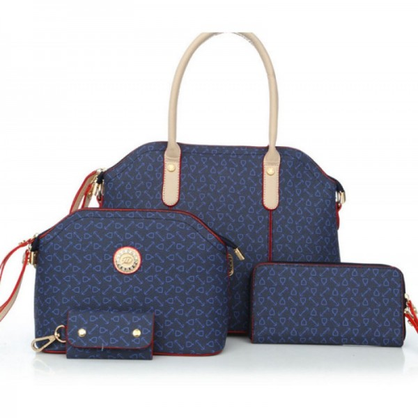 Women's Blue Color Four Piece Shoulder Handbag Set HB-04BL image