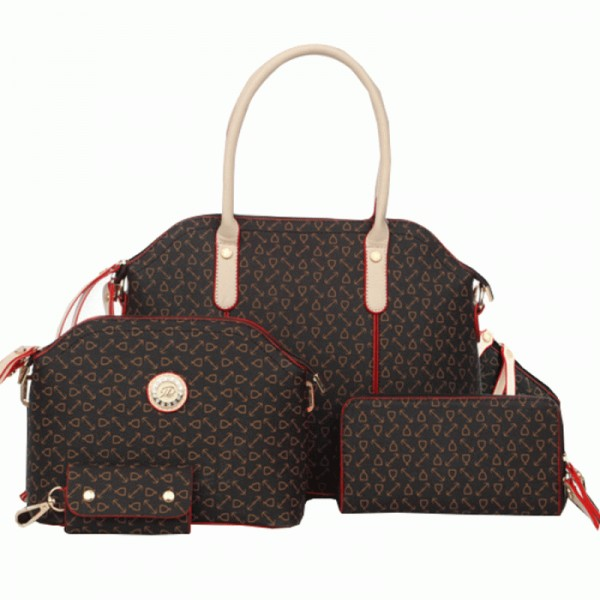 Women's Brown Color Four Piece Shoulder Handbag Set HB-04BR image