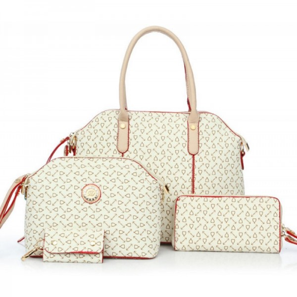 Women's Cream Color Four Piece Shoulder Handbag Set HB-04CR image
