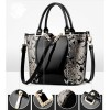 Women's Fashion Black Embroided Shining Leather Hand Bag HB-11BK image