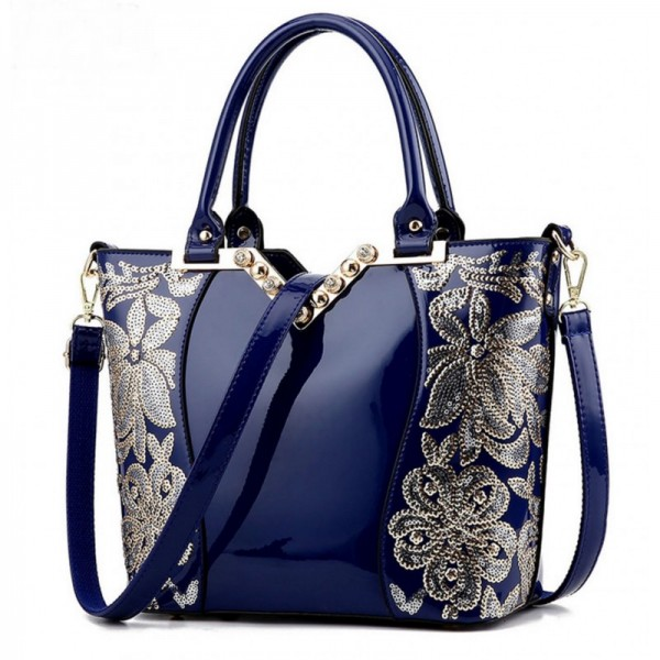 Women's Fashion Blue Embroided Shining Leather Hand Bag HB-11BL image