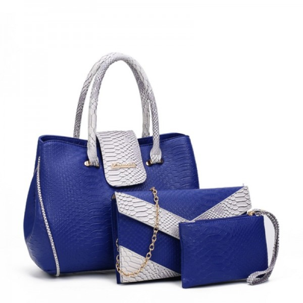 Women's Fashion Blue Three Piece Crocodile Shoulder Bag Set HB-09BL image