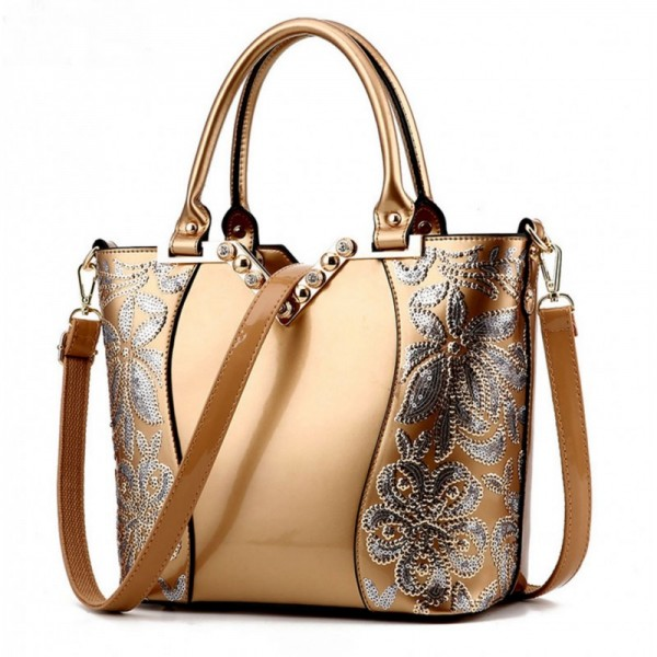 Women's Fashion Gold Embroided Shining Leather Hand Bag HB-11GD image