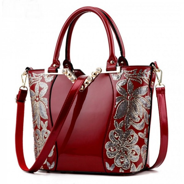 Women's Fashion Red Embroided Shining Leather Hand Bag HB-11RD image