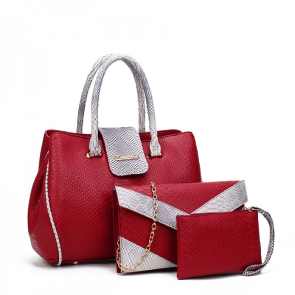 Women's Fashion Red Three Piece Crocodile Shoulder Bag Set HB-09RD image