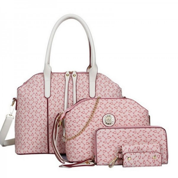 Women's Pink Color Four Piece Shoulder Handbag Set HB-04PK image