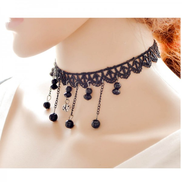 Black Color Flowers Modelling Alloy Necklace For Women image