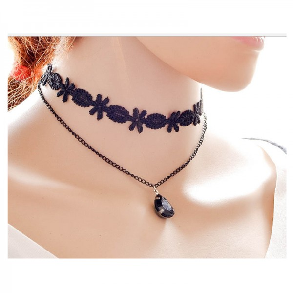 Black Color Gemstone Water Droplets Alloy Necklace For Women image