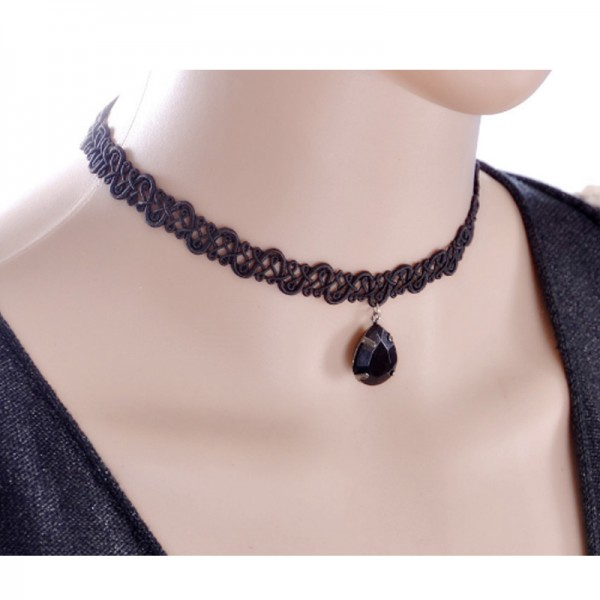 Black Color Water Droplets Alloy Korean Fashion Necklace For Women N-18 image