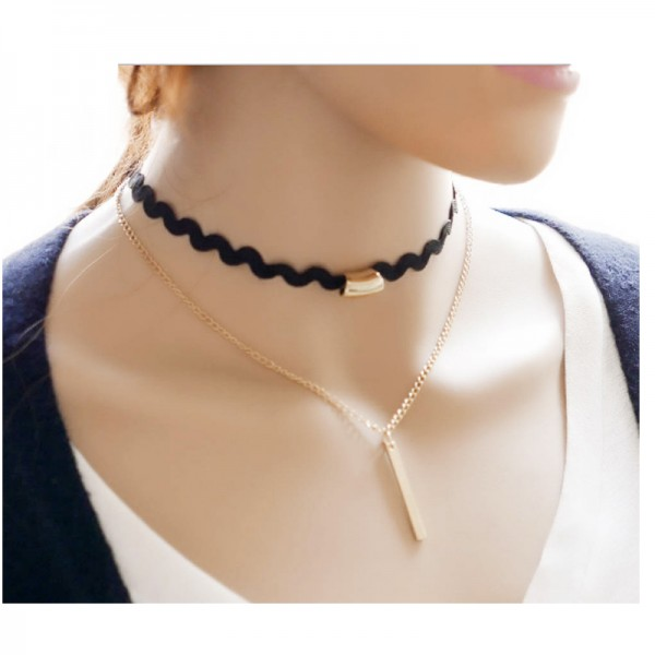 Black Color Water Droplets Korean Fashion Alloy Necklace For Women N-21 image