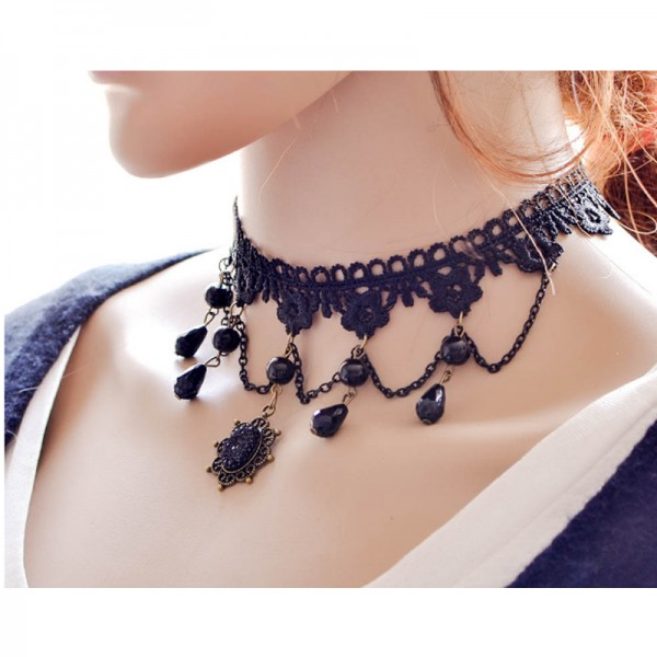 Black Color Water Droplets Korean Fashion Lace Necklace For Women N-12 image