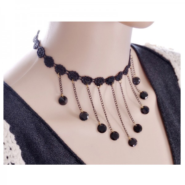 Black Color Water Droplets Korean Fashion Lace Necklace For Women image