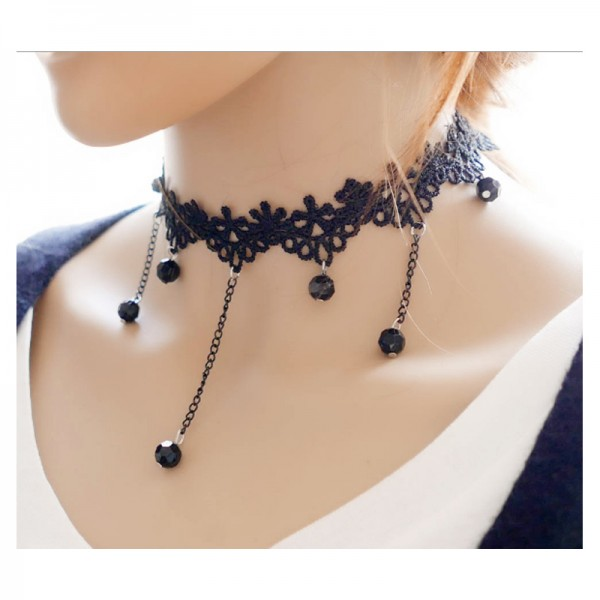 Black Color Water Droplets Korean Fashion Lace Retro Necklace For Women N-11 image