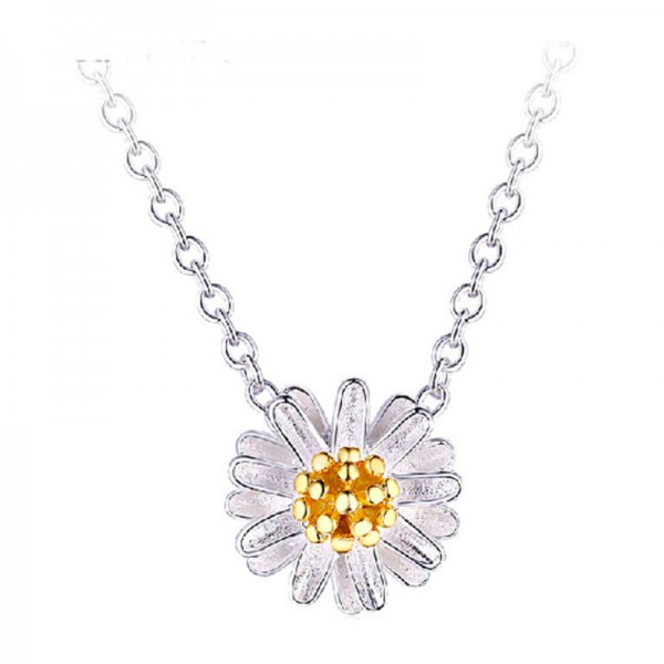 Silver Color Short Clavicle Chain Flower Pendant Necklace For Women image