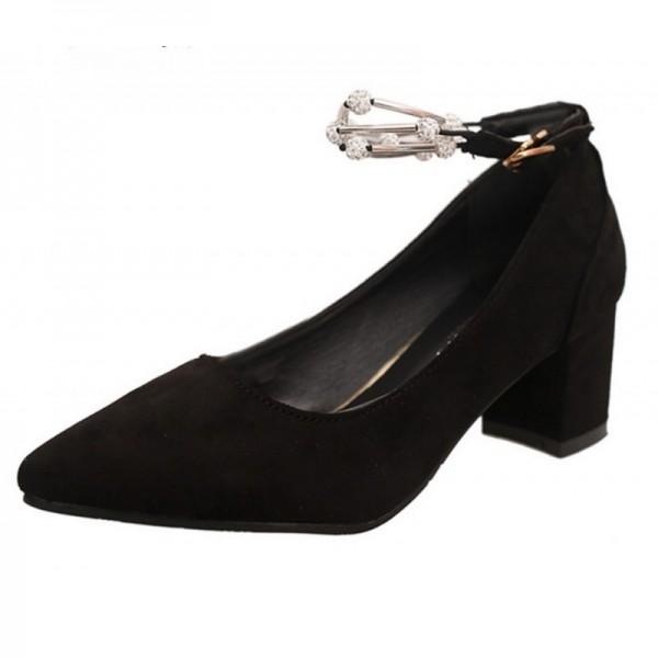 Diamond Studded Metal Black Pointed Heels For Women SH-14BK image