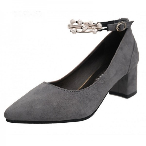 Grey Color Diamond Studded Metal Pointed Heels For Women SH-14GR image