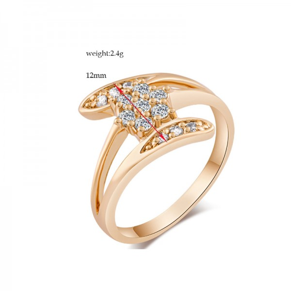 Gold Color Plated 18K Gold Flower Modelling Finger Rings For Women R-10 image