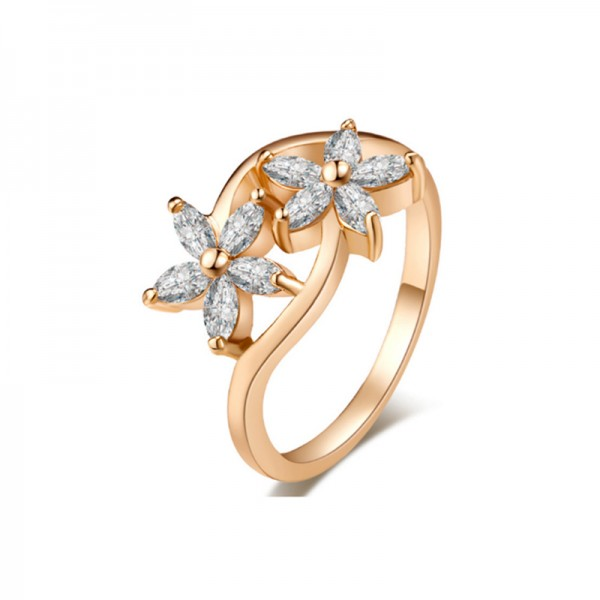 Gold Color Real Platinum Gold Plating Zircon Flowers Rings For Women R-09 image