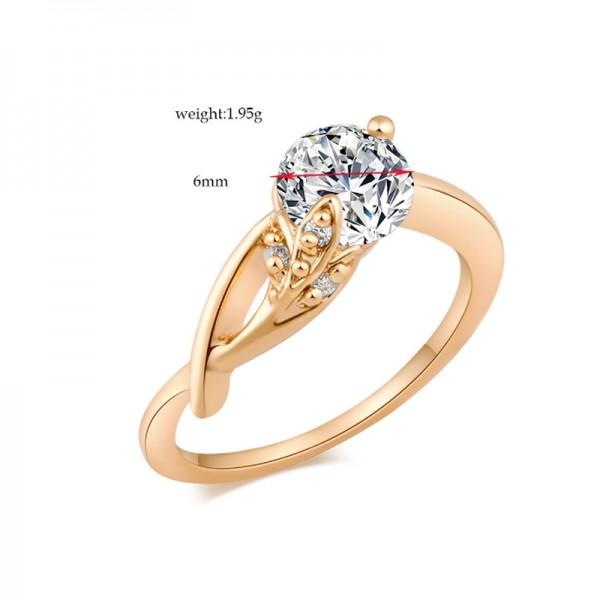 Gold Color Zircon Geometric Modelling Finger Rings For Women image